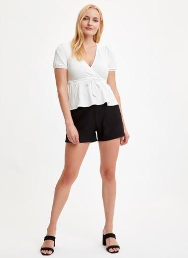 DeFacto V Yaka Kruvaze Bluz Beyaz